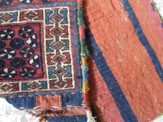 Small Afshar tribes saddlebag in perfect condition and very old,not washed.Size:70x39 cm