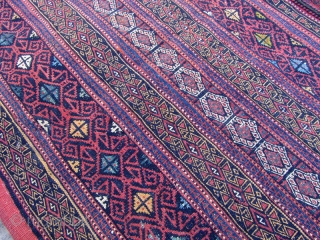 SE persian Afshar tribes Rakat. nice colores even it is not washed .Size:145x80 cm.frings are mixed cotton and wool.two small hole in back kilim is shown from inside in images