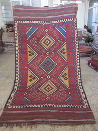 SW persia,Baseri tribes kilim,not washed,some very small tiny holes that can be seen in images,size:300 x 164 cm