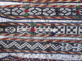 Ghaghgaie band,not washed and needs abit preparing.the white in pattern is wool as other parts.and with brown in field,Size:680 x 6.5 cm