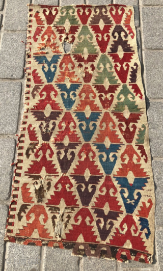 18th Century Central Anatolian Kilim Fragment size 63x140