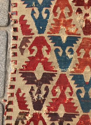 18th Century Central Anatolian Kilim Fragment size 63x140