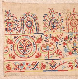 18th Century Greek Crete Embroidery size 34x66 cm