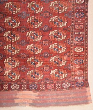 Early 19th Century Turkmen Tekke Main Carpet size 190x240 cm in good pile
