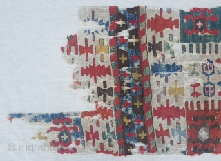 18th Century Central Anatolian Kilim Fragment size 69x175 cm mounted on linen