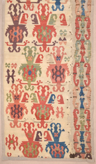 18th Century Central Anatolian Aksaray Kilim Fragment size 62x182 cm mounted on linen