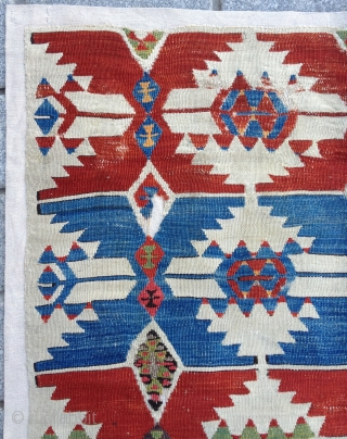 18th Century Central Anatolian Aksaray Kilim Fragment size 105x185 cm mounted on linen