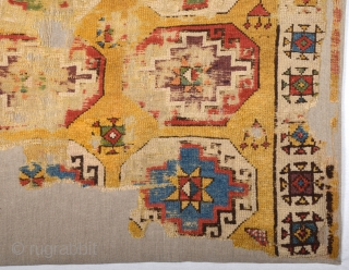 18th Century Memling Gul Konya Rug Fragment size 110x116 cm Fantastic colors
