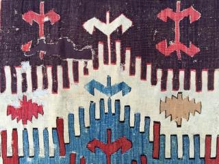 18th Century Konya Kilim Fragment size 65x117 cm Mounted on linen
