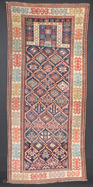 ca.1880 Akstafa Prayer rug,,wonderful Natural colours,,size:204x90 cm  6.9x3 ft