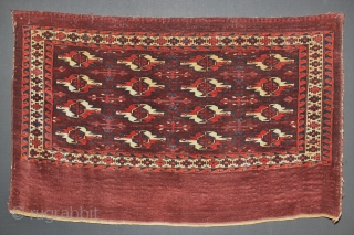 mid 19th century Yomut Yomud Chuval,wonderful Natural colours,,size:80x127 cm  2.8x4.2
