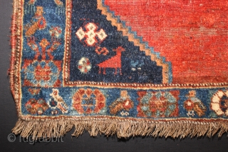 ca.1900 Old Antique Kashqai Square rug,wonderful natural colours,,size:77x84 cm
