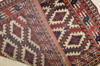 ca.1880 Turkman Yomut Asmalyk,,wonderful natural colours,size:74x120 cm  2.4x4 ft
