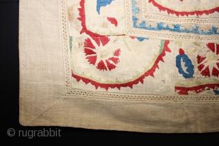 18 th century Turkish Suzani fragment,,size:62x65 cm  2.1x2.2 ft