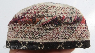 persian North hat,silk embroidery on fabric,Qajar period