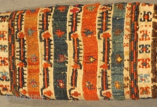 Shahsevan aria khamseh Embroidered in wool on cotton 1870 circa.size 64x21cm