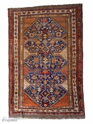 qashqai rug 1880 circa,good connection no repair all natural colors,size 210x140cm