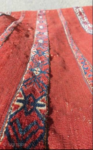 Tekke Kizil chuval 9 stripe pattern with (cross & star) design; mixed technique circa1880.size 120x75cm