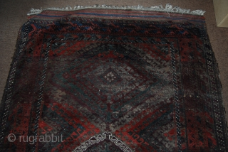 Baluch main carpet, 135 x 280 cm, complete but condition issues including oxidation of the black/brown
