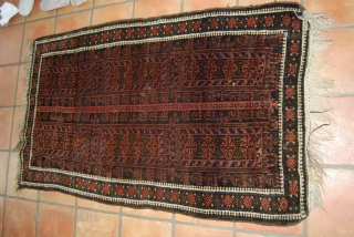 Old Baluch/Timuri rug with an animal tree design in the center, 90 x 148 cm, rather good condition with full pile , there are some traces of moth bites