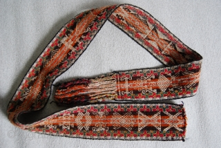 Three old belts from Bolivia, 7,5 x 144 cm, 7 x 130 cm, 6 x 124 cm