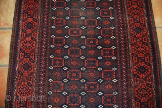 Old Baluch rug, 100 x 175 cm, traces of wear, oxidation, but complete, finely knotted