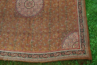 Antique European (French?) printed moon shawl, 141 x 141 cm (without fringes), very finely woven with printed design, condition issues with several small holes and tears