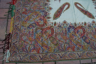 Antique Kashmir-/Paisley-Shawl from Europe with printed design, condition issues with small holes and tears, very colourful, 172 x 172 cm