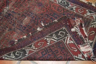 Old Baluch rug, condition issues, wear, 78 x 135 cm