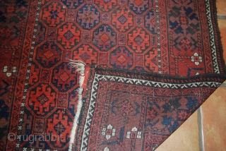 Old Baluch rug, 89 x 175 cm, condition issues (one tear 10 cm)