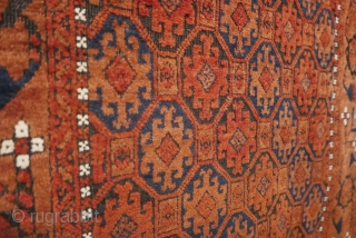 Antique Baluch rug,  circa 1880,  likely Torbat-e-Haldari,  from the Mahvalet region of NE Persia,  with a fine rendering of Mina Khani florals in the border.  Organic dyes.  ...