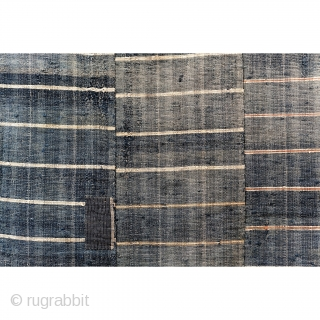 Sakiori Kotatsugake - Edo Era Indigo Rug  Indigo sakiori kotatsugake, or hearth cover.   'Sakiori' is a woven fabric that is produced from worn out cloth and garments torn thinly and then woven tightly  ...