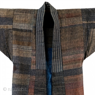 Stunning earth tone sakiori fisherman's jacket.   'Sakiori' is a woven fabric that is produced from worn out cloth and garments torn thinly and then woven tightly into clothing and other products for  ...