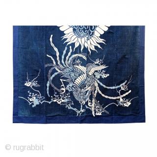 Tsutsugaki Futon Cover - Boro Phoenix and Crane  Bold indigo tstsugaki futon cover of crane and phoenix.  Tsutsugaki is a Japanese technique of resist dyeing that involves drawing rice-paste designs on cloth, dyeing the  ...