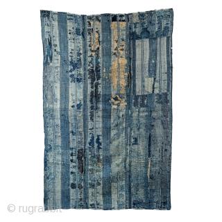 Boro Futon - Antique Indigo Cottons with Dense Sashiko Stitching  Extensive sashiko stitching.  A wide variety of textiles have been used to create this futon. Mostly double layered, heavy weight cotton fabrics.   This textile  ...