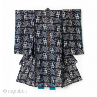 Omi-Jofu Kasuri Child's Kimono - Fans and Cherry Blossoms.  Omi-jofu is a hemp cloth from Shiga prefecture, and is known to be an exceptional finely woven and collectible example of bast fiber weaving.  The  ...