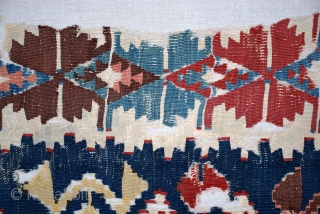 "Central Anatolian kilim fragment (#380), circa 1850, size 29"" x 107"", professionally cleaned and mounted, deeply saturated 'old' colors. additional information and pictures at www.herat.com @ #380."