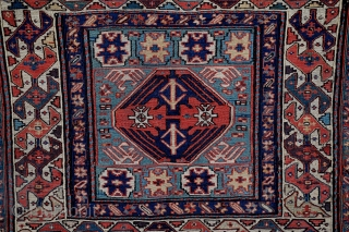 """Bijar-Shahsavan bag face, NW Persia, Size 23"""" x 22"""", Circa 1850, this khorjin was woven in the region between Mianeh and Bijar, although it is frequently labeled Khamseh-Shahsavan, familiar members of the  ..."""