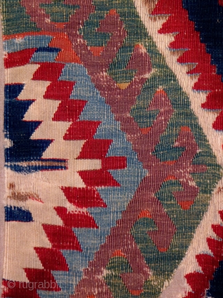 """Anatolian kilim fragment, Karaman region, 35"""" x 94"""" (+/-), most likely this fragment represents one of the two panels of the complete kilim, the field composition of conjoined hexagonal elements flanked by  ..."""