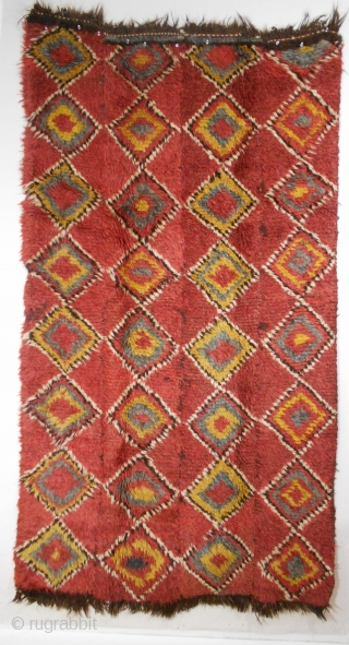 "Uzbek/Arab Julhyr Rug (#404), 44"" x 81"" (111 cm x 205 cm), circa 1900, the rug foundation consists of four narrow strips, the strips are sewed together to form the complete foundation,  ..."