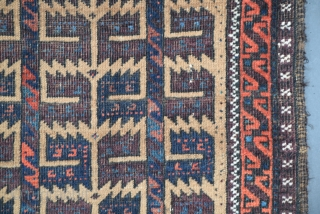"Baluch rug, size 35"" x 64"" (88 cm x 162 cm), several features contribute to the excellence of this rug, both the field composition and border constructs are classically 'Baluch' executed with  ..."