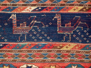 """Moghan - Savalan (Shahsavan) panel, northeast Azarbayjan, 39"""" x 20"""" (99 x 50 cm), natural dyes, strong, clear colors, condition is generally good with some surface wear and repairs, time to move-on  ..."""