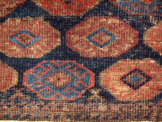 Baluch Bag Face, less commonly seen border treatment, extensive and effective use of 'steel' blue as a secondary color, decent condition with some wear and oxidation, price accordingly.