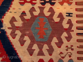 "Early Anatolian kilim fragment, West-Central Turkey, circa 1850, washed and professionally mounted, 35"" x 94"", brilliant, all natural dyes, surviving portion is in very good condition with little or no surface wear,  ..."
