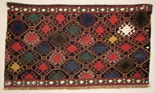 "Shahsavan side panel, Khamseh region of northwest Persia, 31"" x 18"" (78 x 45 cm), again, brilliant color is the salient feature of this work, the primary field component consists of hooked  ..."