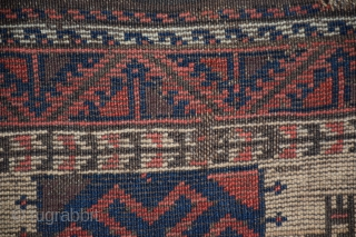 """Baluch rug, northeast Persia/northwest Afghanistan, 33"""" x 57"""", 83 x 144 cm, circa 1880, the field composition is an established member of the 'Baluch' design vocabulary, this design is, however, more commonly  ..."""