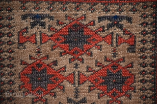 "An unusual Baluch rug, size 34"" x 58"", among 'Baluch' design groups those with multiple borders are less commonly encountered, even within that group this is an extremely unusual example, the weave  ..."