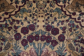 """Tehran Prayer Mat, circa 1880, size 26"""" x 30' (+/-):  This comparatively rare example displays the characteristic violet shade of red identified with these weavings. The warps consist of very delicate  ..."""