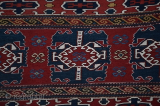 "Qarabagh bedding bag side panel, circa 1875, Central Transcaucasia, 22"" x 47"", all natural dyes, excellent condition with several good quality reweaves, In his definitive book on sumak weaving of this region  ..."