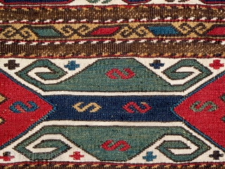"""Qarabagh End Panel, circa 1880, size 17"""" x 17"""", very fine weave, all natural dyes are clear and strong, white is natural cotton, condition is good with several very small repairs, professionally  ..."""